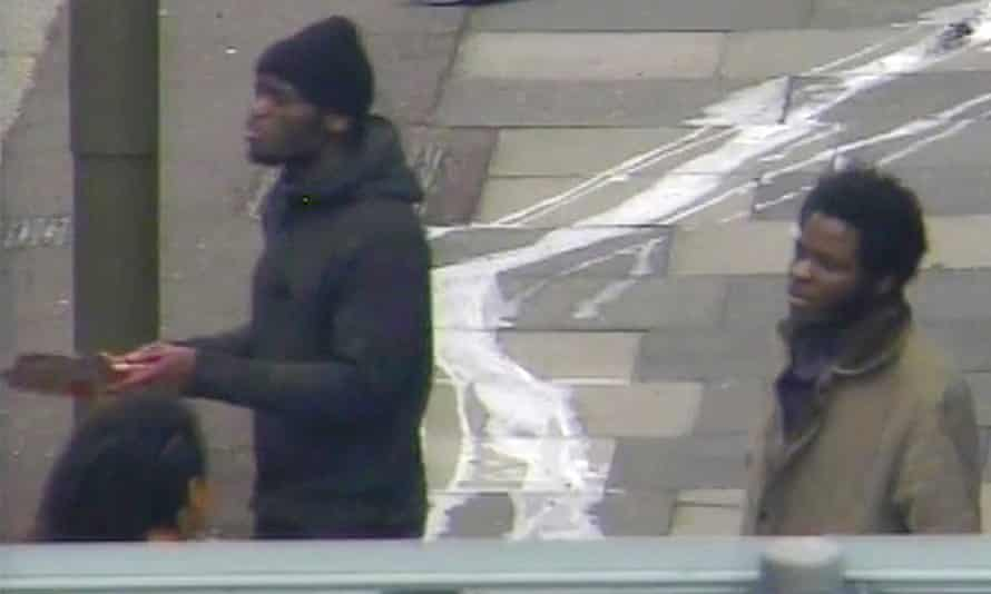 CCTV footage of British men Michael Adebolajo and Michael Adebowale talking to members of the public shortly after they murdered British soldier Lee Rigby in London on May 22, 2013.