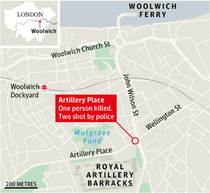 Location of the attack in Woolwich, south-east London.