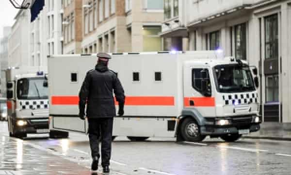 Michael Adebolajo and Michael Adebowale arrive at the Old Bailey in a police convoy.