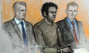 Court artist sketch of Michael Adebowale, flanked by two police officers in the dock, during his appearance at Westminster magistrates court in London where he charged with the murder of Drummer Lee Rigby. Photograph: Elizabeth Cook/PA