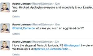 Rachel Johnson four-letter tweet