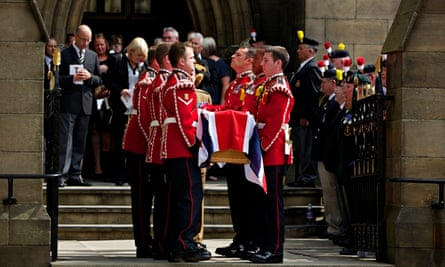The funeral of Fusilier Lee Rigby, murdered outside Woolwich Barracks in 2013.