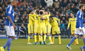 Chelsea players against Schalke