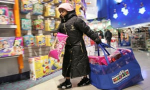 A child shops at the Toys 'R' Us in Times Square in New York City on November 23, 2007.