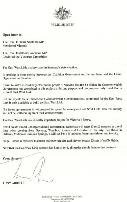 Tony Abbott letter about East West Link