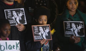 People protesting in the wake of the grand jury decision not to indict officer Darren Wilson in the shooting death of Michael Brown.