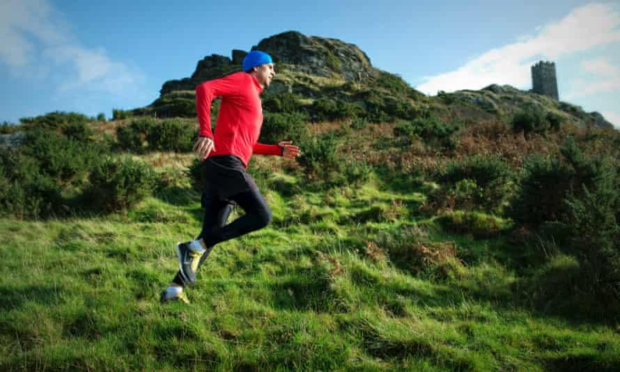 Adharanand running in Dartmoor.