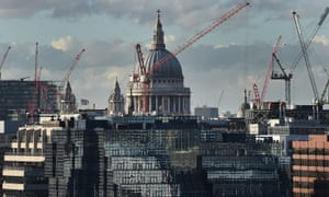 Cranes dot the London skyline around St Paul's Cathedral