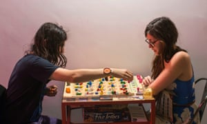 Board-gamers at Draughts cafe in east London.