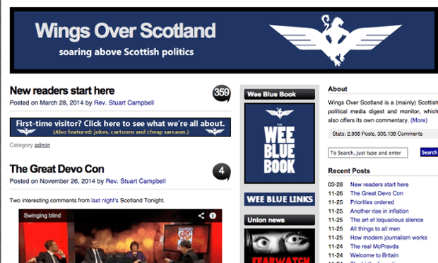 Scottish political site Wings over Scotland started in 2011 to provide commentary on media coverage of Scotland Screengrab: wingsoverscotland.com