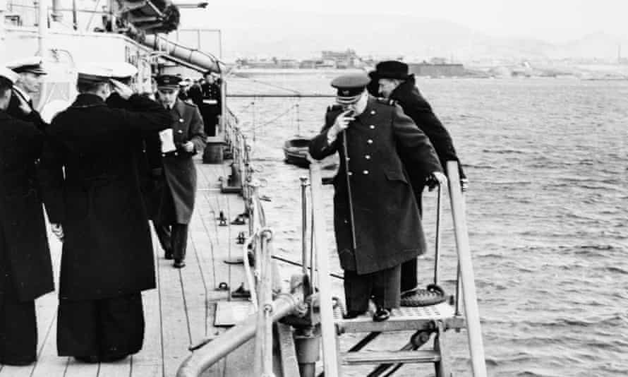 Commanding presence: Churchill leaving HMS Ajax to attend a conference ashore. Athens can be seen in the background.
