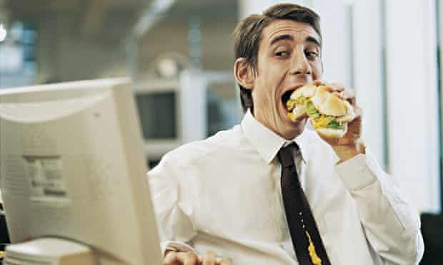 Man eating huge sandwich