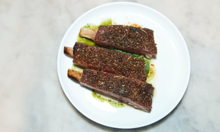 'Thick lamb ribs, crisped and dark and sticky with honey.'