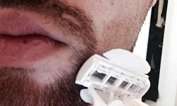 Sam Wolfson shaves with a Gillette Venus.