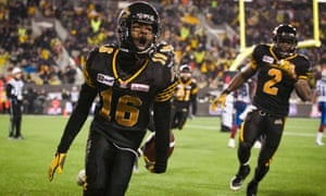 Hamilton Tiger-Cats Brandon Banks celebrates his touchdown against the Montreal Alouettes during the second half of their CFL Eastern Final.