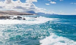 Surf at the coast of Costa Calma