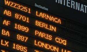 European flight destinations are seen on a board at Otopeni international airport near Bucharest