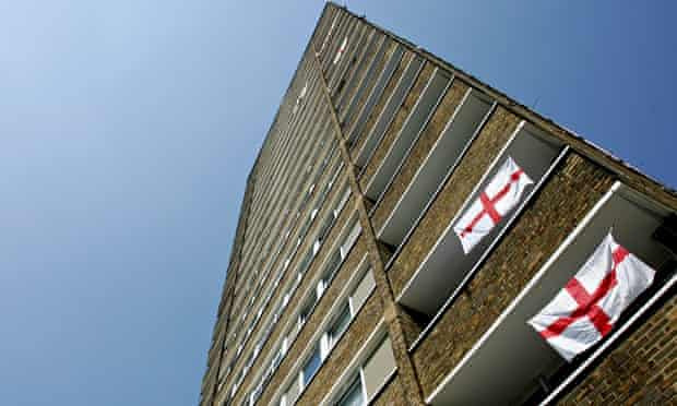 Block of flats with England flags