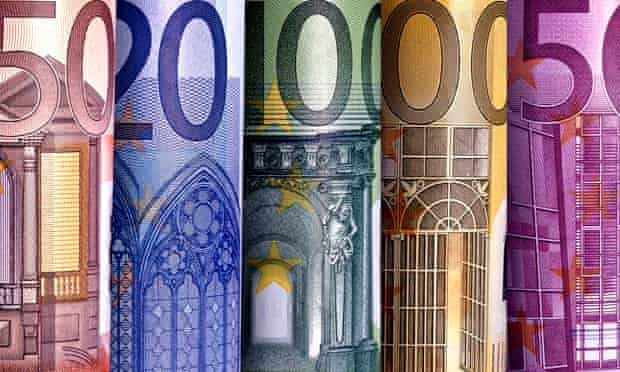 Close-up of euro notes