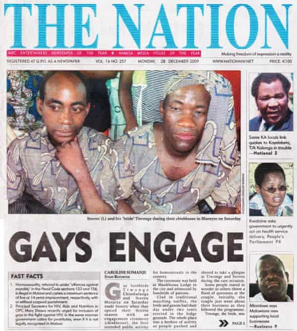 Tiwonge Chimbalanga's engagement was front page news in Malawi.