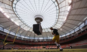 Hamilton Tiger Cats place kicker Justin Medlock warms up in BC Place during their team's practice at the CFL's 102nd Grey Cup week in Vancouver, British Columbia.