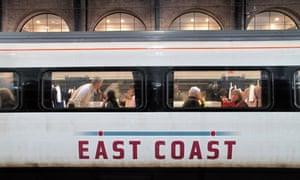 an east coast train on the platform at London's Kings Cross station