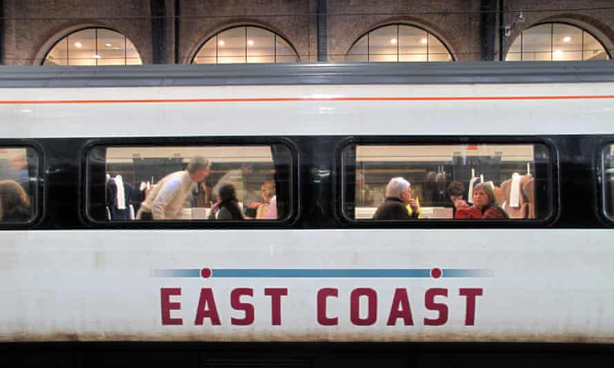 an east coast train on the platform at London's Kings Cross station