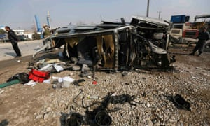 The wreckage of a British embassy vehicle after a suicide attack in Kabul.