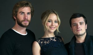Hunger Games co-stars Liam Hemsworth, Jennifer Lawrence and Josh Hutcherson.