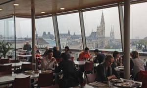 Justice Ministry canteen looking towards Parliament and the Rathaus, Vienna.