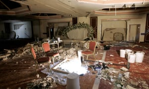 The damaged wedding hall at the Radisson SAS hotel in Amman after a suicide bomb attack in November 2005