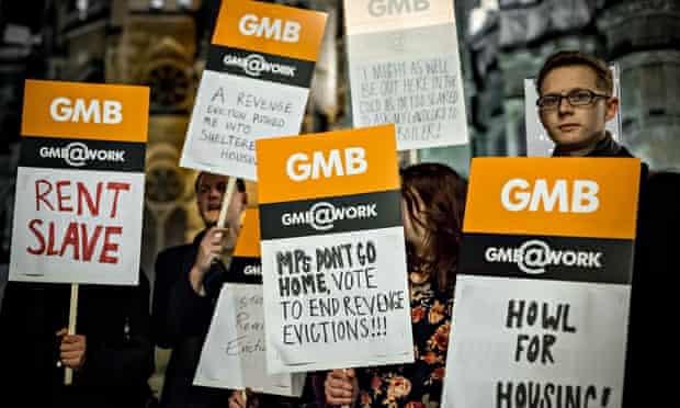 'End Revenge Evictions' protest