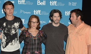 Ansel Elgort, Erin Cressida Wilson, Jason Reitman and Adam Sandler at the Toronto photocall for Men, Women and Children.