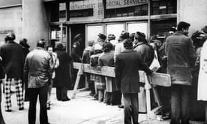 Unemployed New Yorkers line up at a welfare office during the 1973 oil shock.