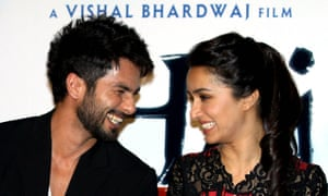Indian Bollywood actors Shahid Kapoor, left, and Shraddha Kapoor at a promotoional event for Haider in July 2014.