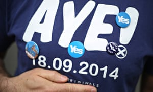 Radical Independence activist in an Aye T-shirt