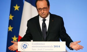 French President Francois Hollande delivers his speech during the Environmental Conference at the Elysee Palace in Paris, November 27, 2014. France will host the World Climate Conference in December 2015.