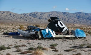 A piece of debris is seen near the crash site of Virgin Galactic's SpaceShipTwo near Cantil, California