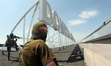 Pro-Russian militants at Donetsk airport