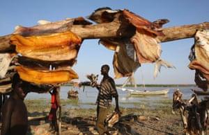 A man walks by drying fish at a fishing camp on the western shore of Lake Turkana, close to Todonyang, near the Kenya-Ethiopia border in northern Kenya