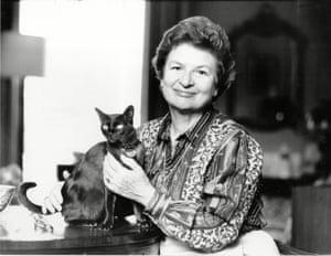 Author P D James At Home With Her Cat In Holland Park