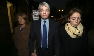 Andrew Mitchell, his wife Dr Sharon Bennett (L) and a woman believed to be his daughter (R) leave the High Court.