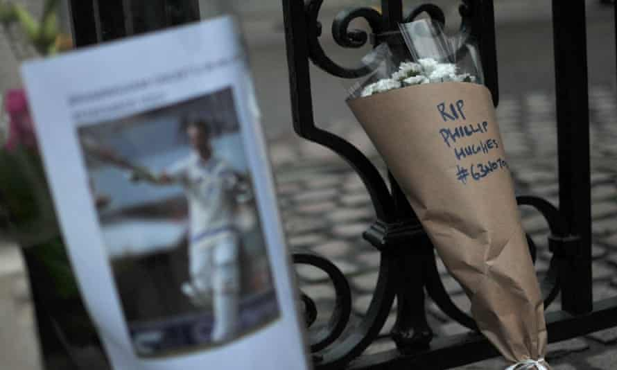 Floral tributes to Phillip Hughes