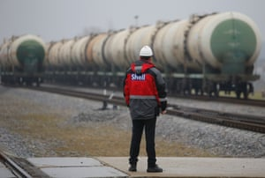 Plant manager Konstantin Rubin looks at rail tankers with base oil at Royal Dutch Shell Plc's lubricants blending plant in the town of Torzhok, north-west of Tver, November 7, 2014.