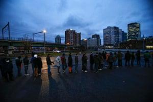 Shoppers line up outside Best Buy in Newport, New Jersey