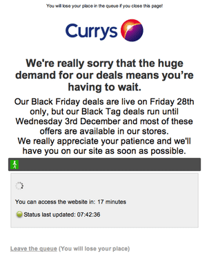 Currys website on Black Friday (7am)