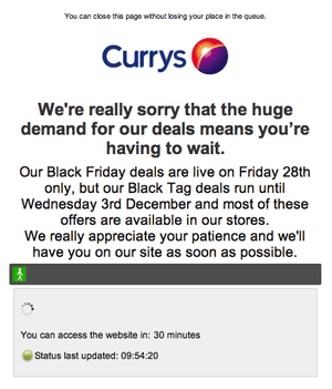 Currys website on Black Friday (10am)
