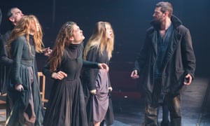 Samantha Colley as Abigail, centre, and Richard Armitage as John Proctor in The Crucible.