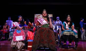 Rajalakshmi, 28, smiles after winning the Miss Wheelchair India beauty pageant, in Mumbai. Photograph: Danish Siddiqui/Reuters