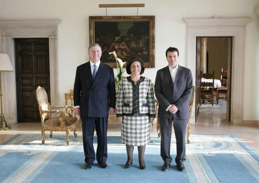 Anholt with Prince Alexander and Princess Katherine of Serbia.